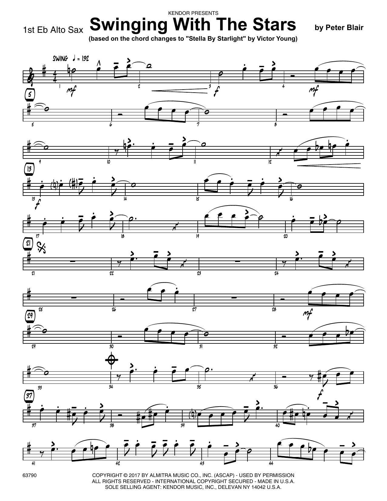 Peter Blair Swinging With The Stars (based on Stella By Starlight by Victor Young) - 1st Eb Alto Saxophone sheet music preview music notes and score for Jazz Ensemble including 2 page(s)