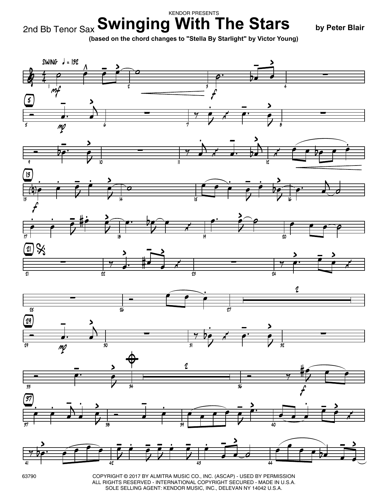 Peter Blair Swinging With The Stars (based on Stella By Starlight by Victor Young) - 2nd Bb Tenor Saxophone sheet music preview music notes and score for Jazz Ensemble including 2 page(s)