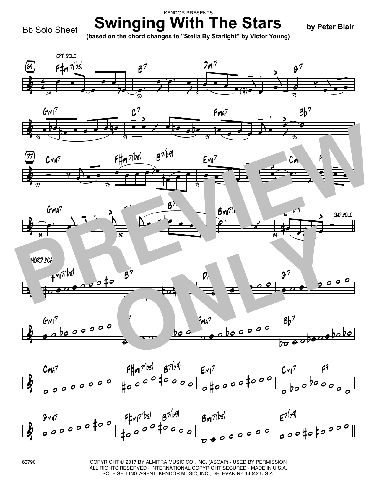 Peter Blair Swinging With The Stars (based on Stella By Starlight by Victor Young) - Solo Sheet - Tenor Sax sheet music preview music notes and score for Jazz Ensemble including 1 page(s)
