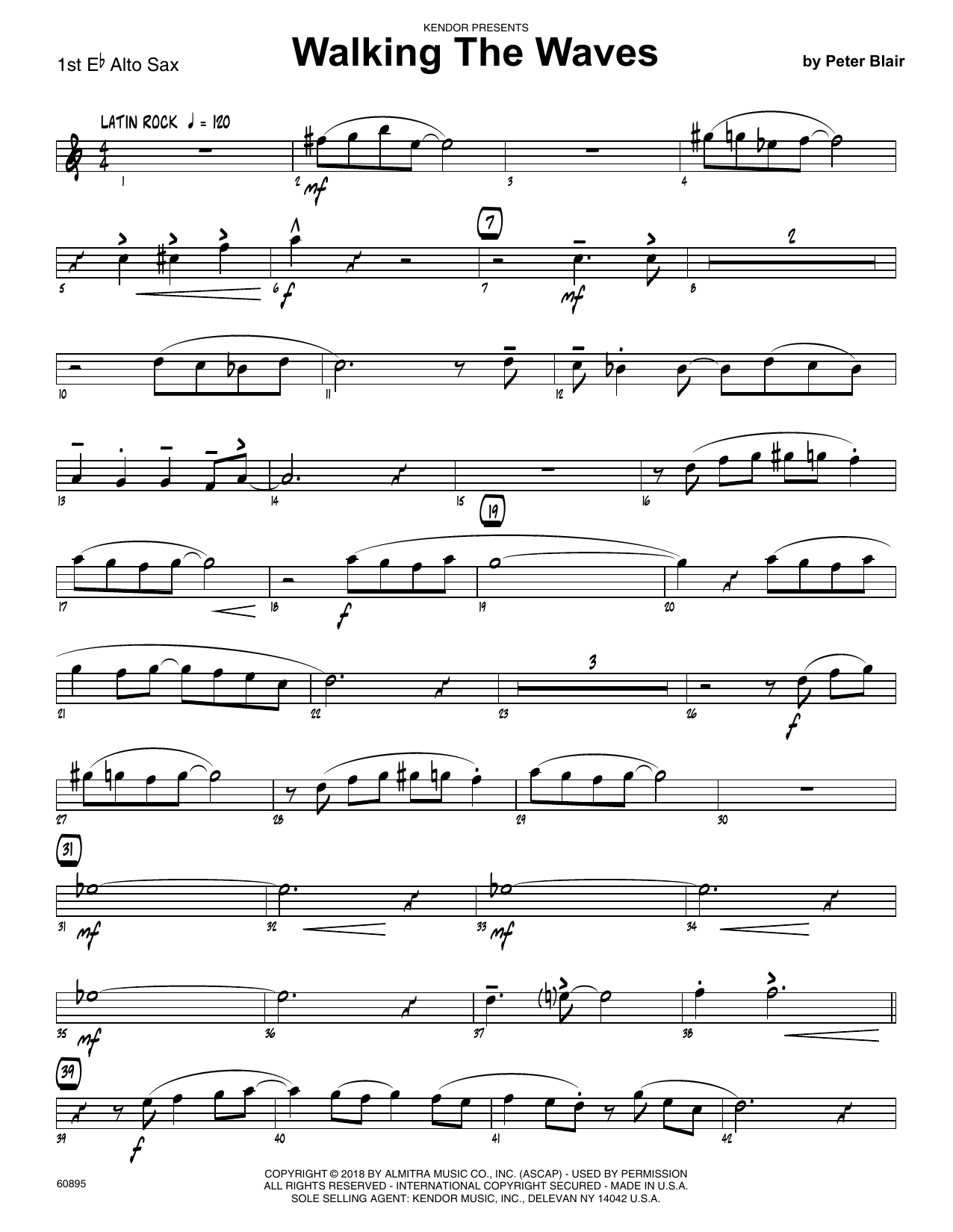 Peter Blair Walking The Waves - 1st Eb Alto Saxophone sheet music preview music notes and score for Jazz Ensemble including 2 page(s)