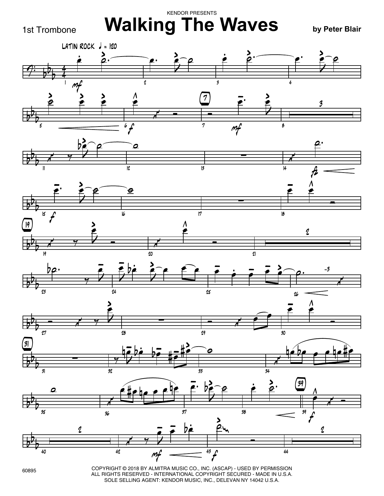 Peter Blair Walking The Waves - 1st Trombone sheet music preview music notes and score for Jazz Ensemble including 2 page(s)