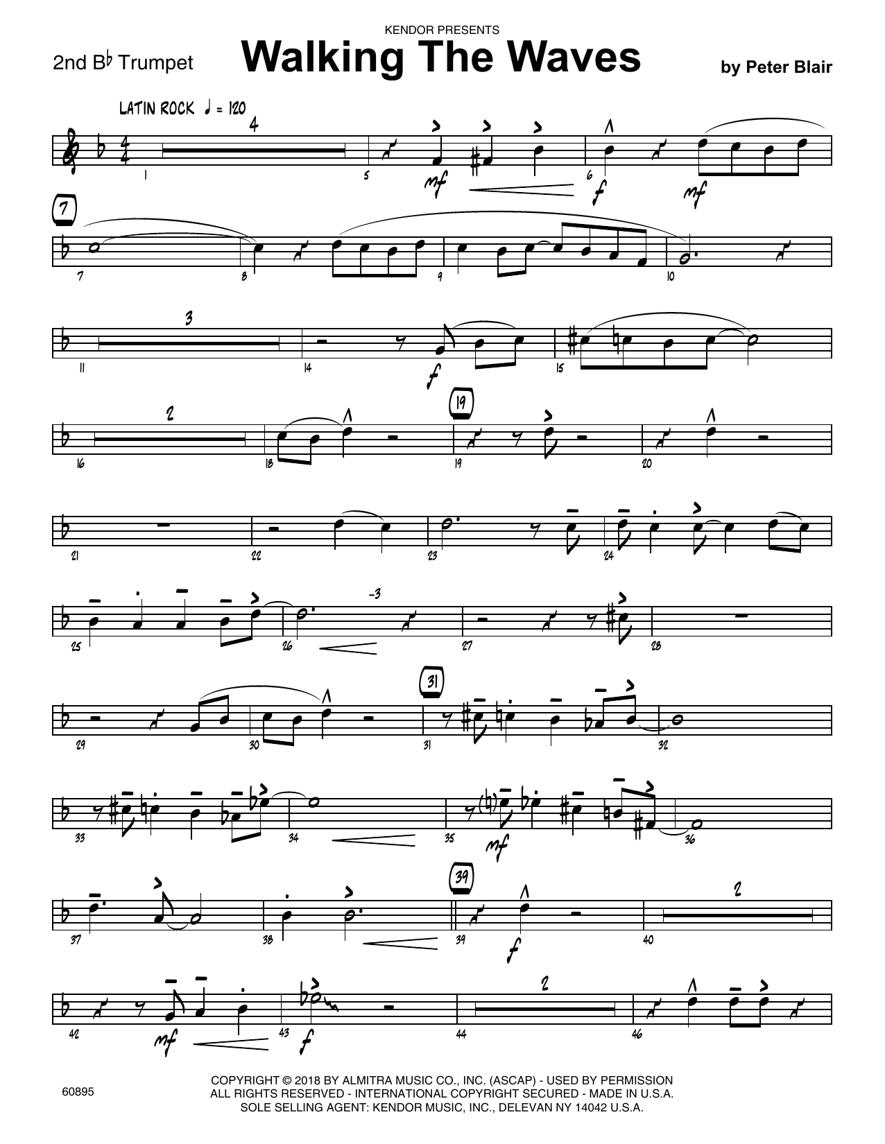Peter Blair Walking The Waves - 2nd Bb Trumpet sheet music preview music notes and score for Jazz Ensemble including 2 page(s)
