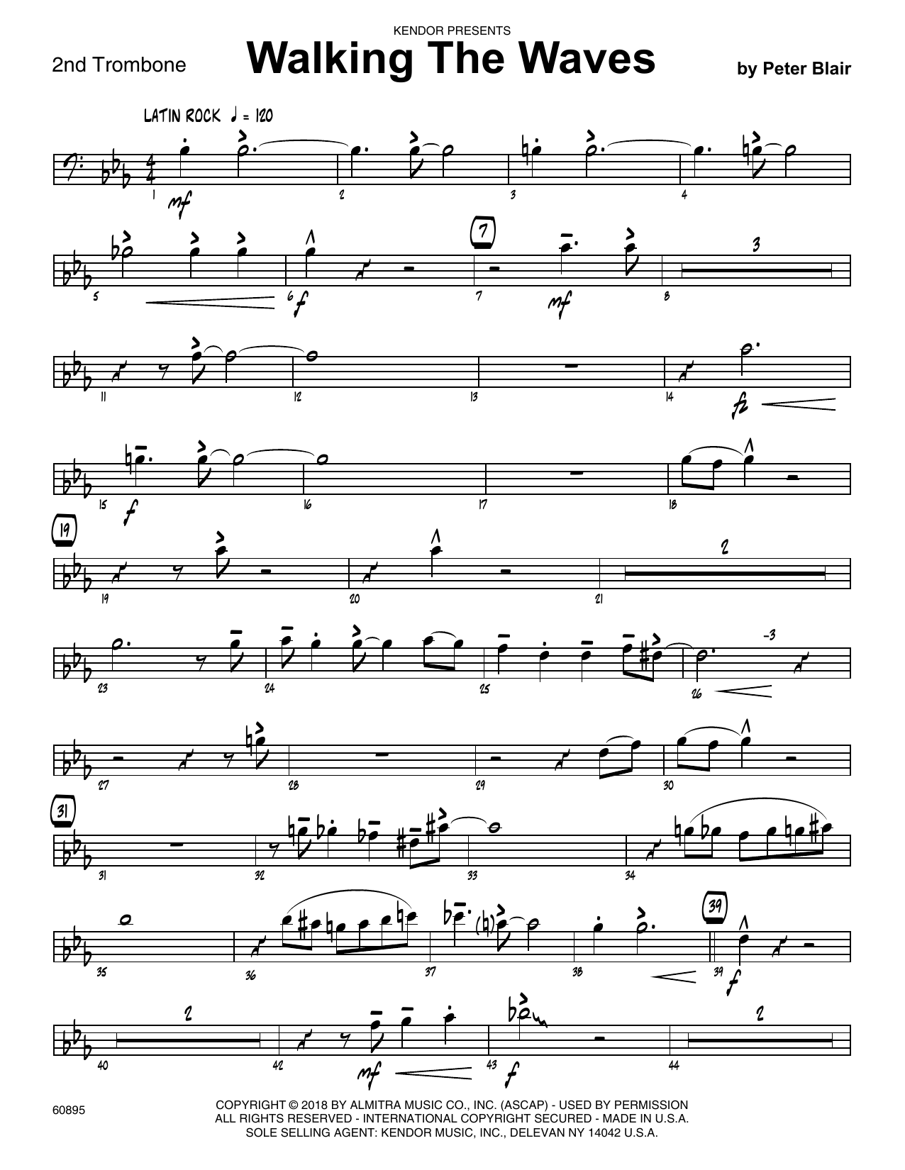 Peter Blair Walking The Waves - 2nd Trombone sheet music preview music notes and score for Jazz Ensemble including 2 page(s)