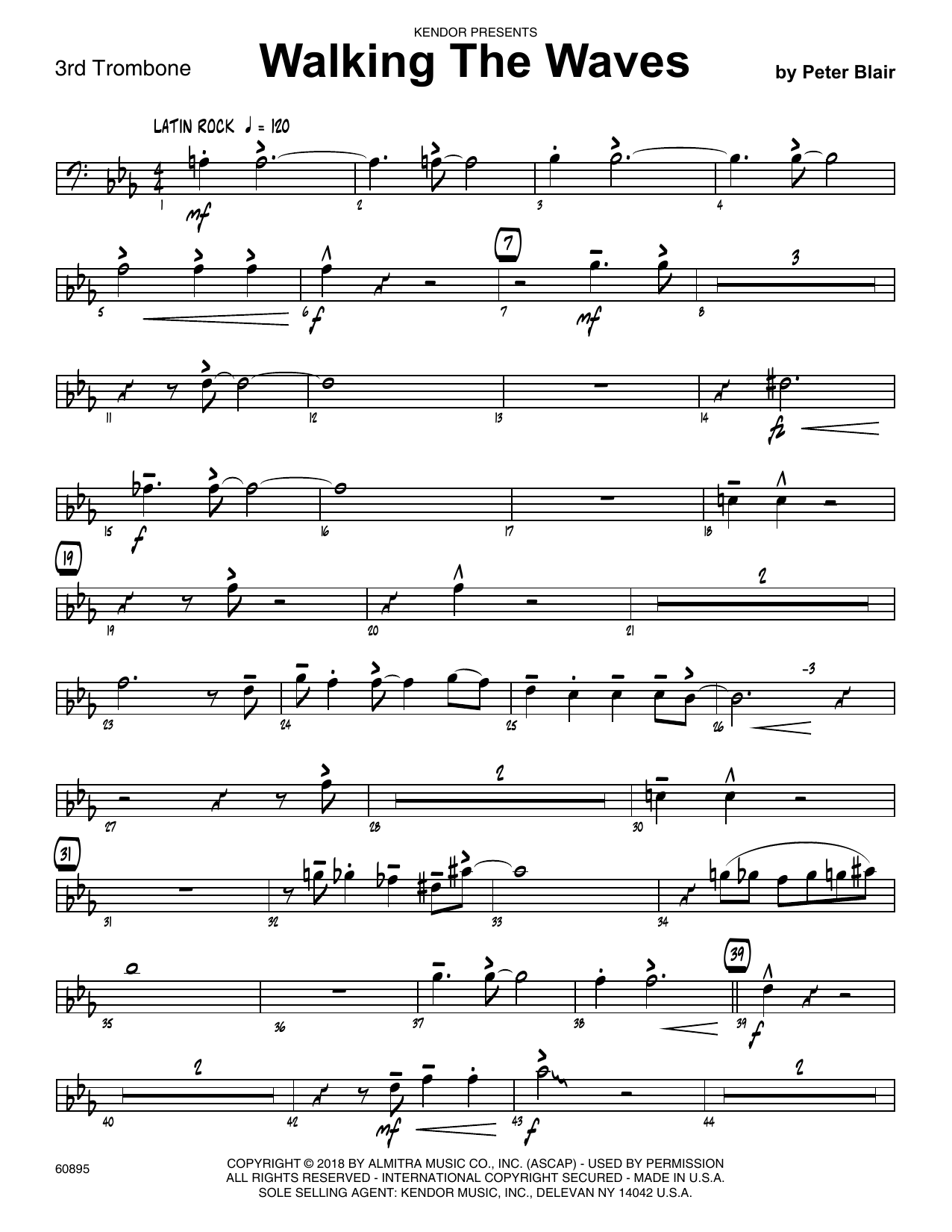 Peter Blair Walking The Waves - 3rd Trombone sheet music preview music notes and score for Jazz Ensemble including 2 page(s)