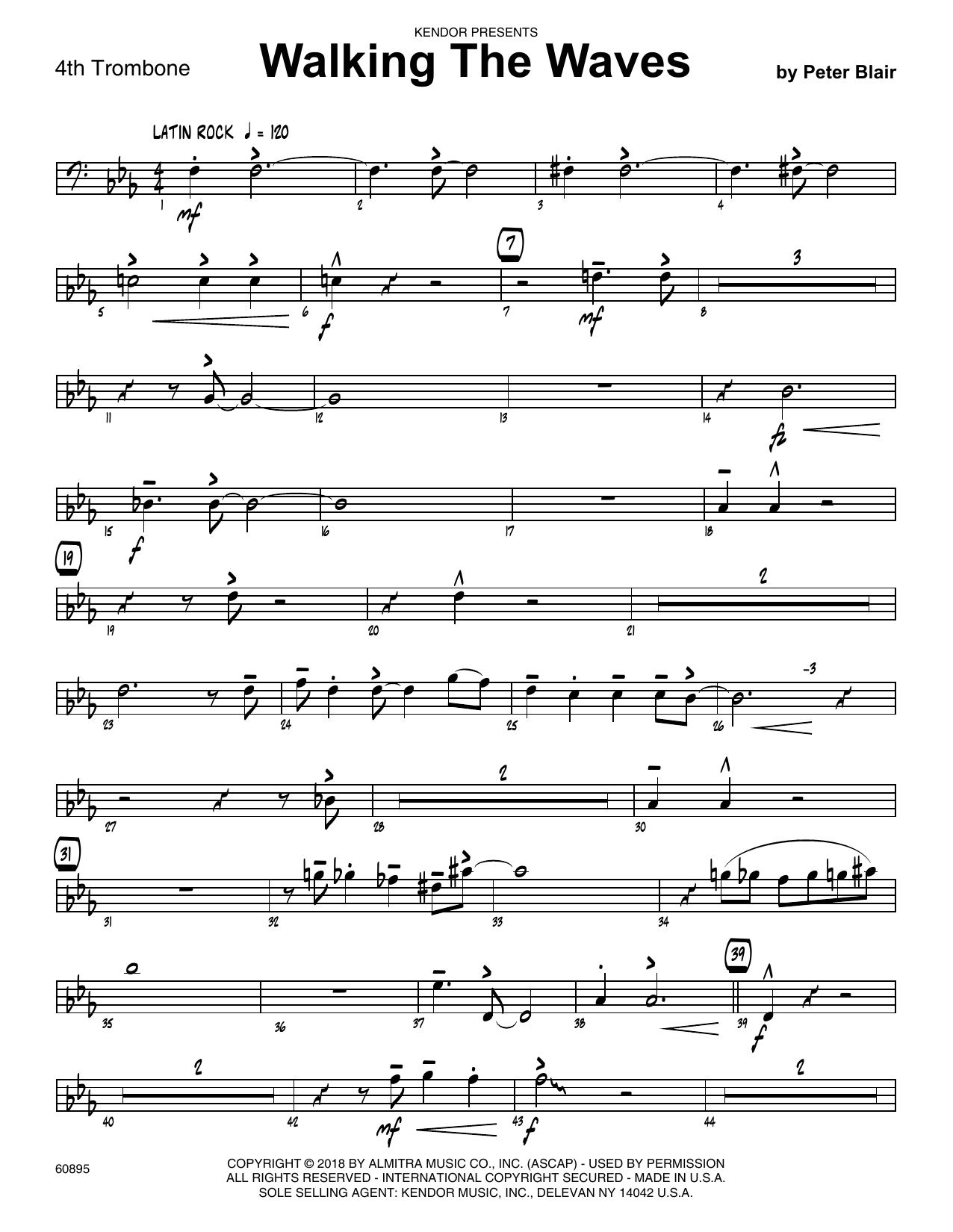 Peter Blair Walking The Waves - 4th Trombone sheet music preview music notes and score for Jazz Ensemble including 2 page(s)