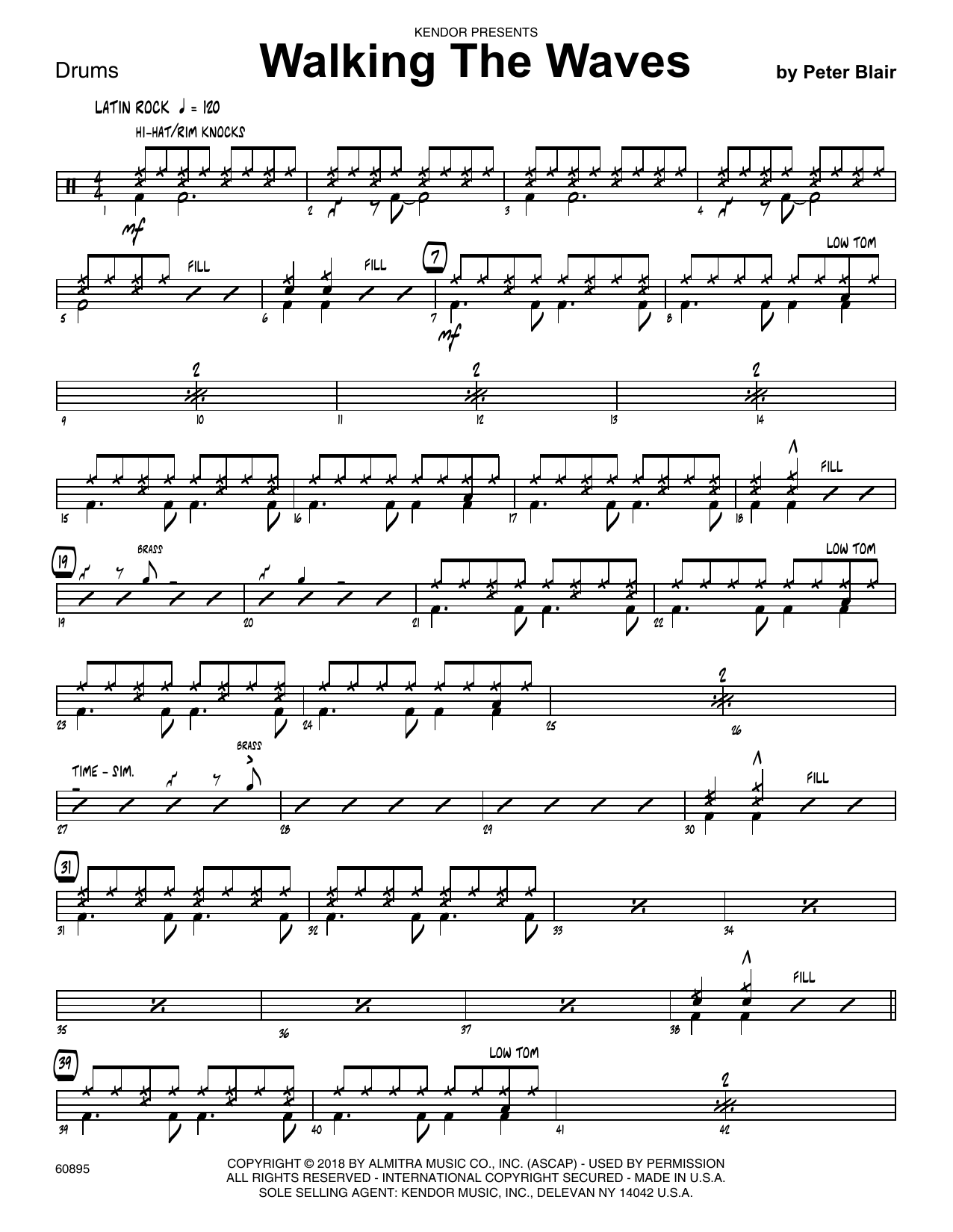 Peter Blair Walking The Waves - Drum Set sheet music preview music notes and score for Jazz Ensemble including 2 page(s)