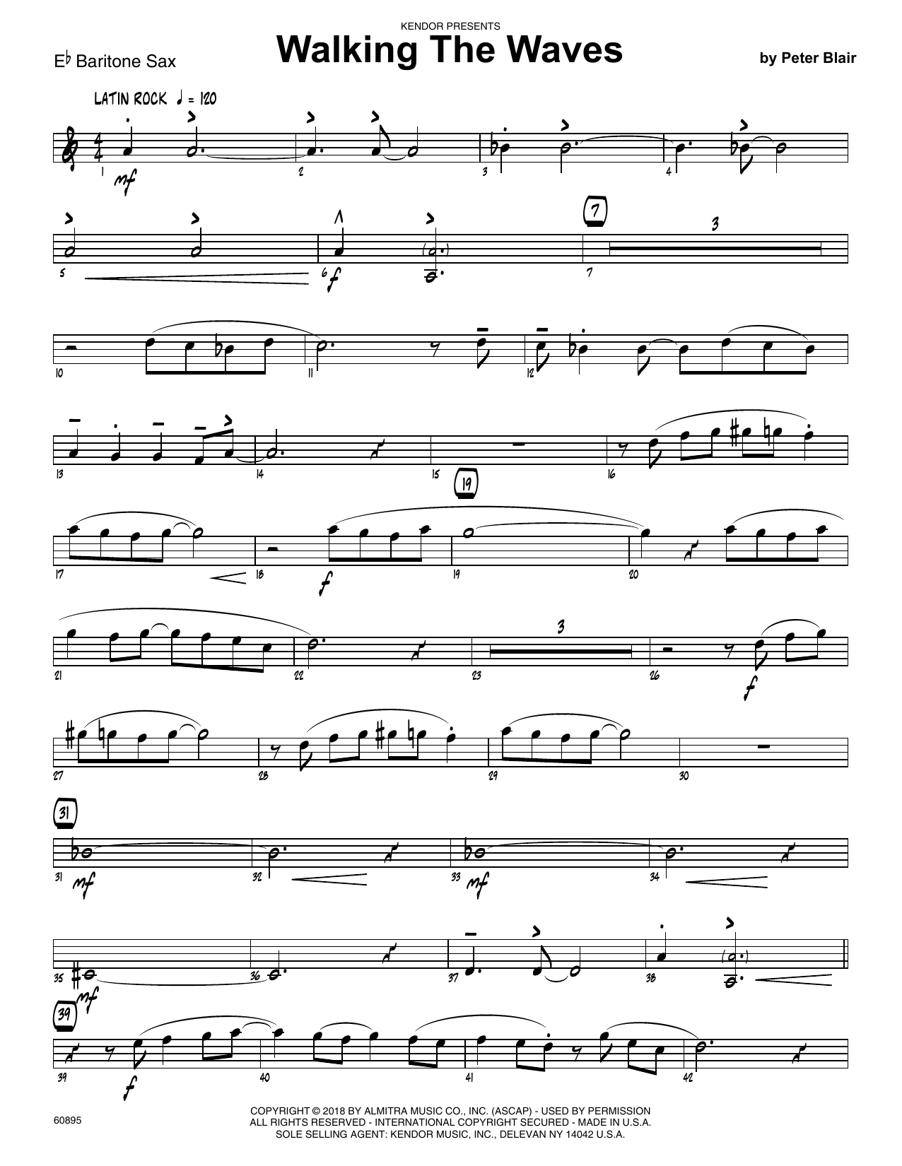 Peter Blair Walking The Waves - Eb Baritone Saxophone sheet music preview music notes and score for Jazz Ensemble including 2 page(s)