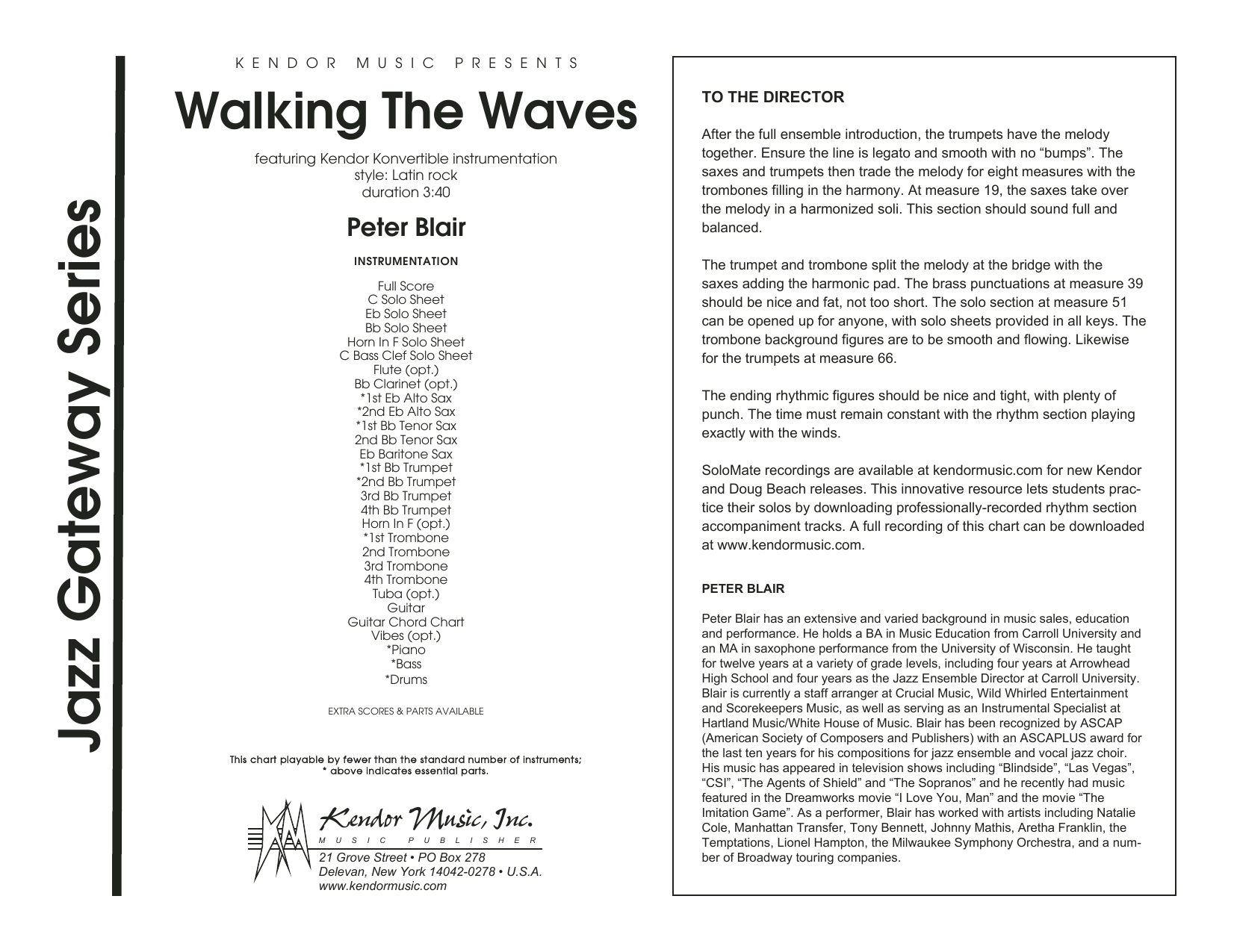 Peter Blair Walking The Waves - Full Score sheet music preview music notes and score for Jazz Ensemble including 12 page(s)