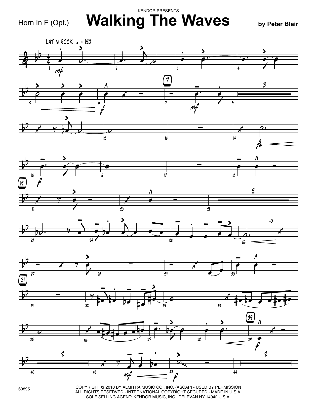 Peter Blair Walking The Waves - Horn in F sheet music preview music notes and score for Jazz Ensemble including 2 page(s)