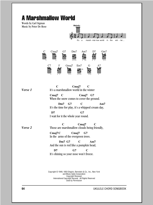 Download Carl Sigman 'A Marshmallow World' Digital Sheet Music Notes & Chords and start playing in minutes