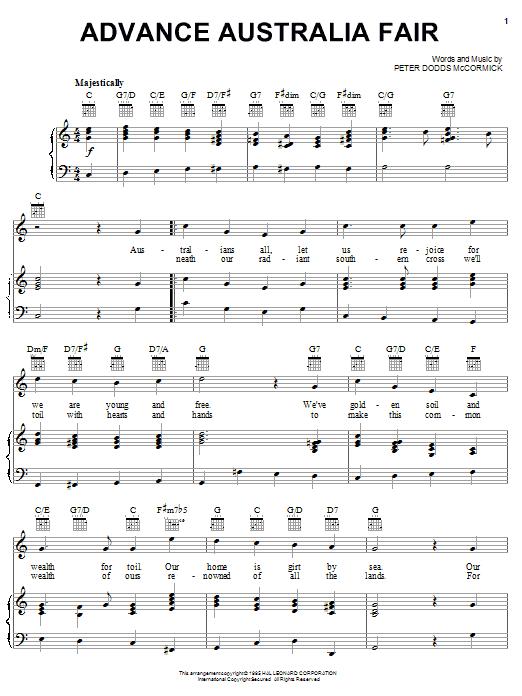 Peter McCormick Advance Australia Fair (Australian National Anthem) sheet music notes and chords