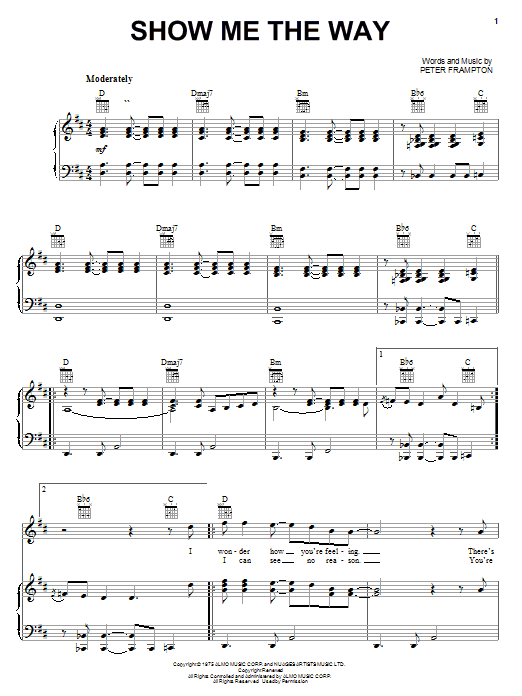 Peter Frampton Show Me The Way sheet music preview music notes and score for Easy Guitar Tab including 5 page(s)