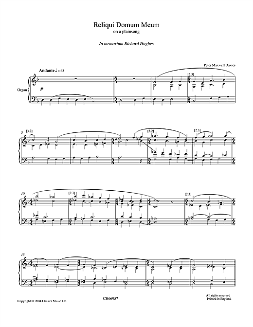 Download Peter Maxwell Davies 'Reliqui Domum Meum' Digital Sheet Music Notes & Chords and start playing in minutes