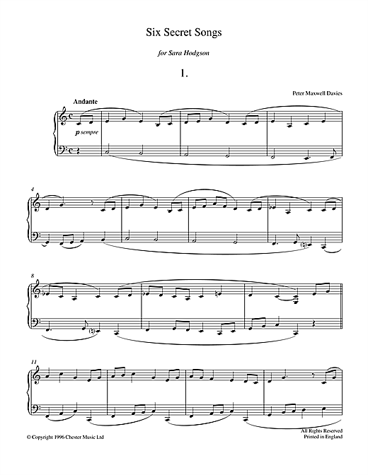 Download Peter Maxwell Davies 'Six Secret Songs, No.1, Andante' Digital Sheet Music Notes & Chords and start playing in minutes
