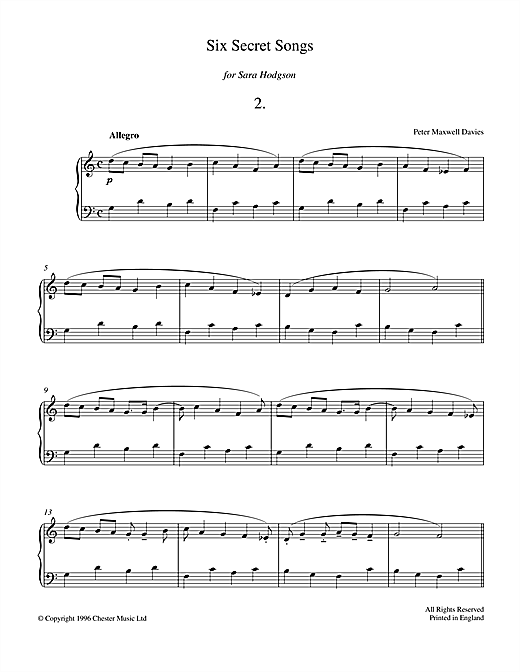 Download Peter Maxwell Davies 'Six Secret Songs, No.2, Allegro' Digital Sheet Music Notes & Chords and start playing in minutes