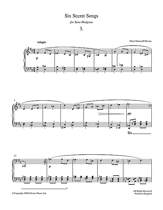 Download Peter Maxwell Davies 'Six Secret Songs, No.3, Adagio' Digital Sheet Music Notes & Chords and start playing in minutes