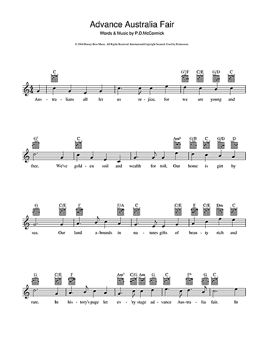 Peter McCormick Advance Australia Fair (Australian National Anthem) sheet music preview music notes and score for Melody Line, Lyrics & Chords including 2 page(s)