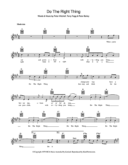 Peter Mitchell Do The Right Thing sheet music preview music notes and score for Melody Line, Lyrics & Chords including 2 page(s)