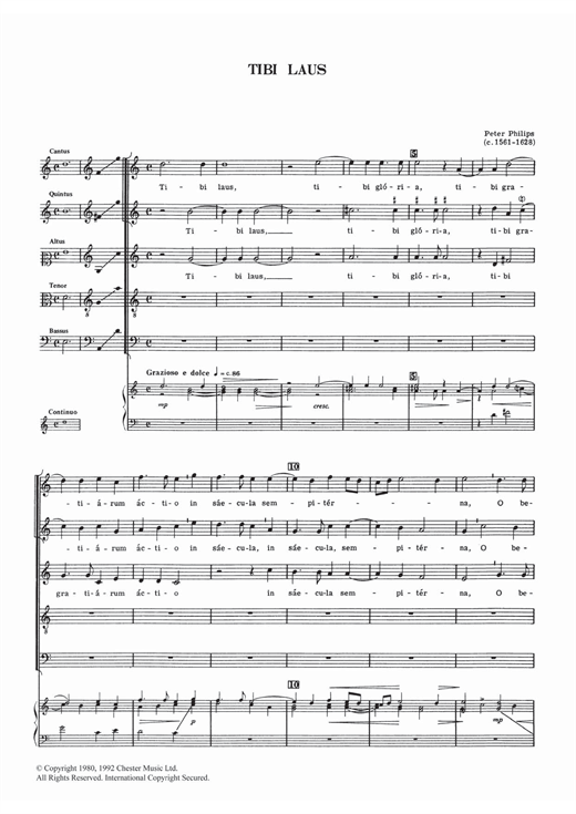 Download Peter Philips 'Tibi Laus' Digital Sheet Music Notes & Chords and start playing in minutes
