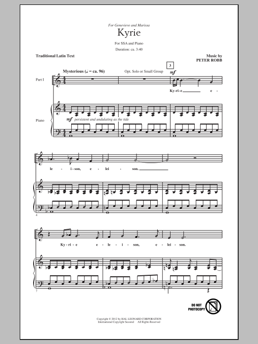 Peter Robb Kyrie And Sanctus sheet music preview music notes and score for SSA including 5 page(s)