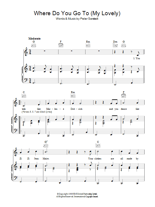 Peter Sarstedt Where Do You Go To (My Lovely) sheet music preview music notes and score for Piano, Vocal & Guitar (Right-Hand Melody) including 4 page(s)