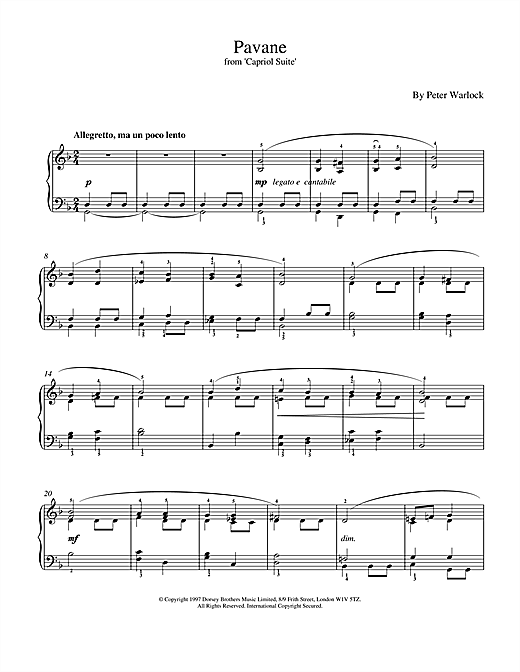 Download Peter Warlock 'Pavane' Digital Sheet Music Notes & Chords and start playing in minutes