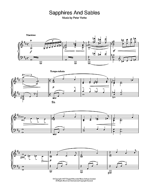 Download Peter Yorke 'Sapphires And Sables' Digital Sheet Music Notes & Chords and start playing in minutes