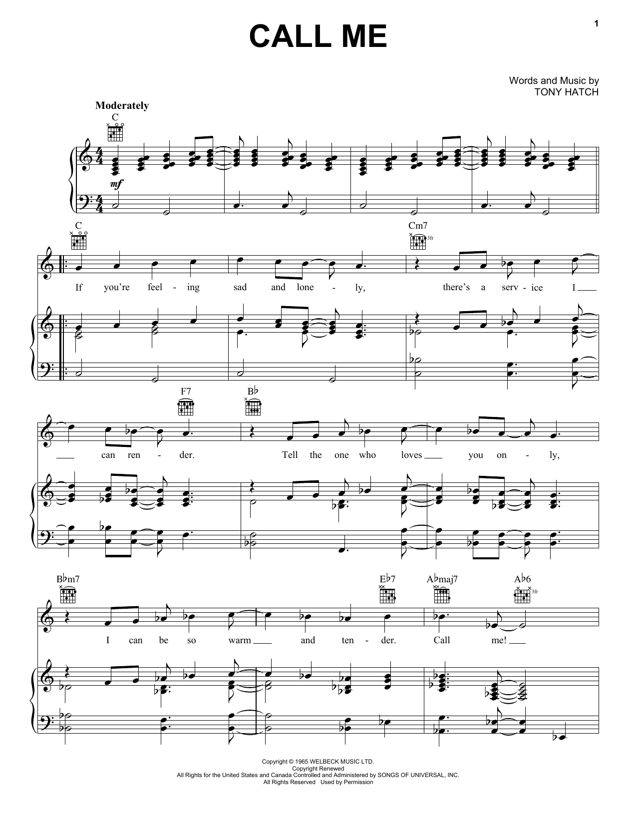 Petula Clark Call Me sheet music preview music notes and score for Guitar Tab including 3 page(s)