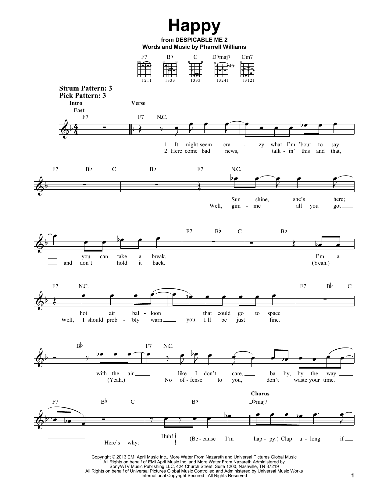 Download Pharrell Williams 'Happy' Digital Sheet Music Notes & Chords and start playing in minutes
