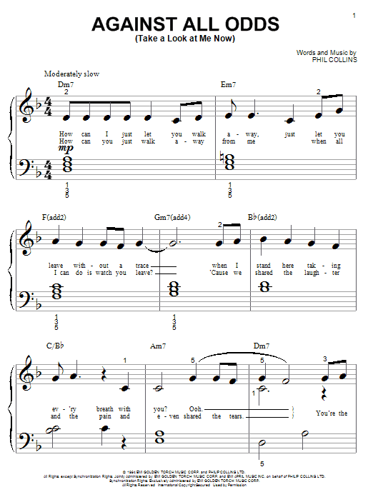 Phil Collins Against All Odds (Take A Look At Me Now) sheet music preview music notes and score for Piano, Vocal & Guitar (Right-Hand Melody) including 5 page(s)