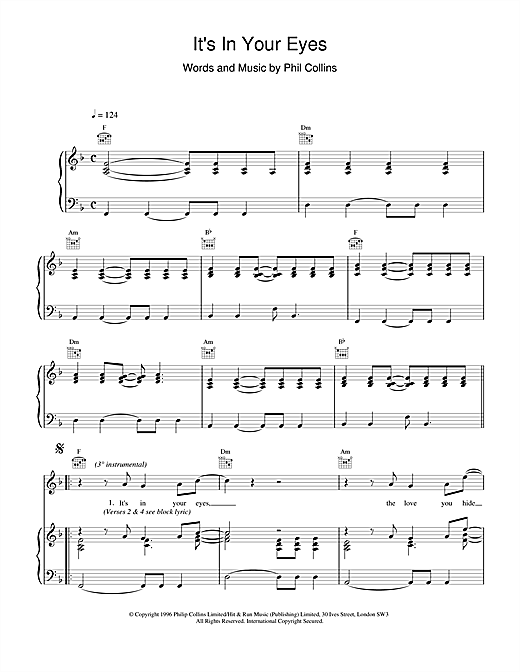 Phil Collins It's In Your Eyes sheet music notes and chords
