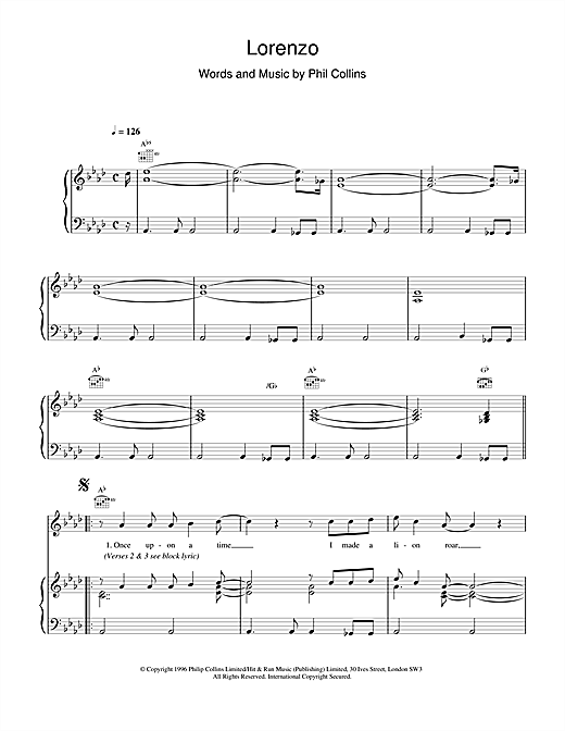 Phil Collins Lorenzo sheet music notes and chords