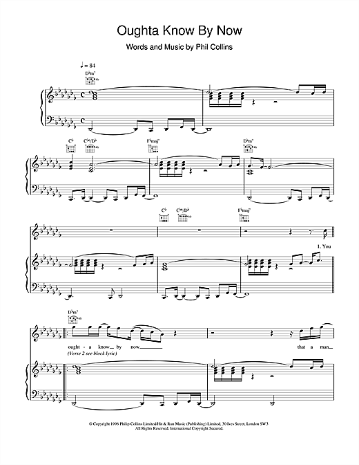 Phil Collins Oughta Know By Now sheet music notes and chords