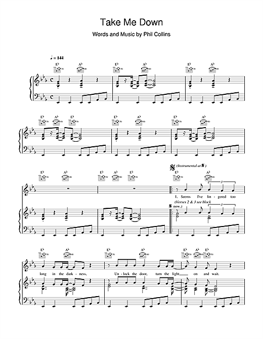Phil Collins Take Me Down sheet music notes and chords