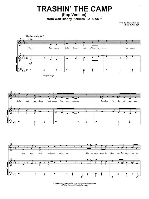 Phil Collins Desbaratando El Campamento (Pop Version) sheet music notes and chords