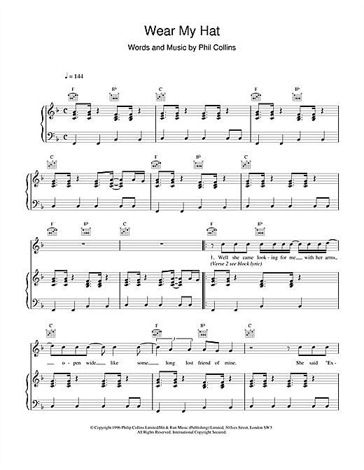 Phil Collins Wear My Hat sheet music notes and chords