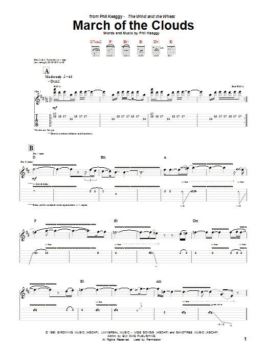 Phil Keaggy March Of The Clouds sheet music notes and chords