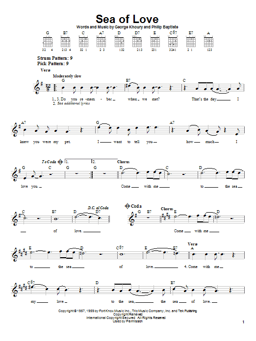 Phil Phillips Sea Of Love sheet music preview music notes and score for Easy Guitar including 2 page(s)