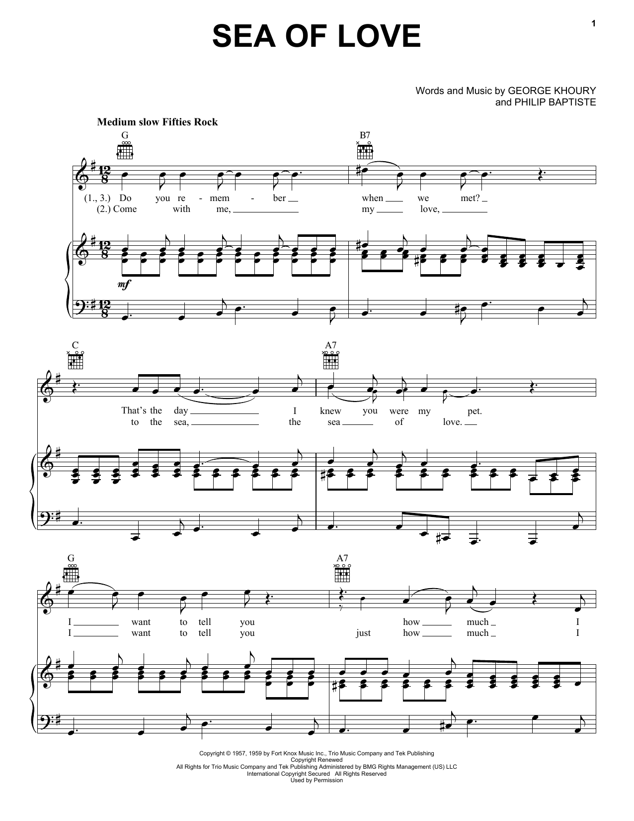 Phil Phillips Sea Of Love sheet music preview music notes and score for Piano, Vocal & Guitar (Right-Hand Melody) including 4 page(s)