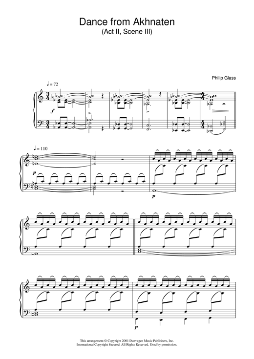 Download Philip Glass 'Dance from Akhnaten, Act 2 Scene 3' Digital Sheet Music Notes & Chords and start playing in minutes