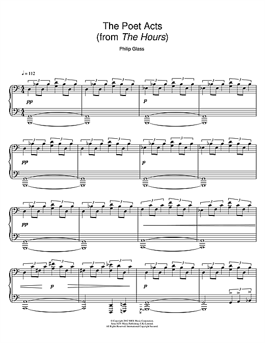 Download Philip Glass 'The Poet Acts (from The Hours)' Digital Sheet Music Notes & Chords and start playing in minutes