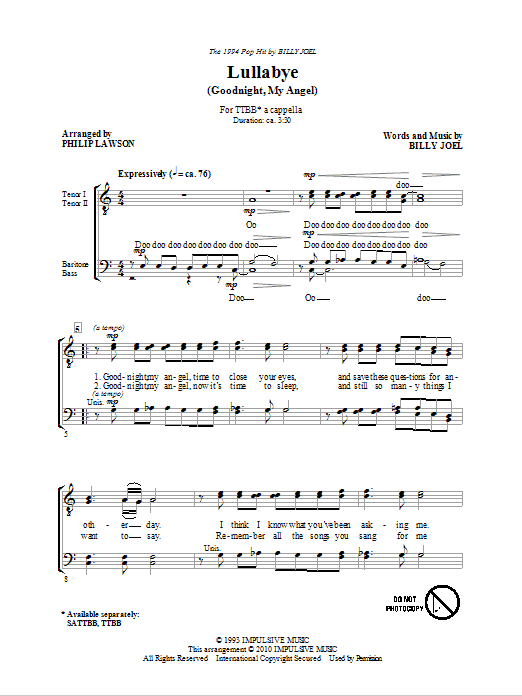 Download Philip Lawson 'Lullabye (Goodnight, My Angel)' Digital Sheet Music Notes & Chords and start playing in minutes