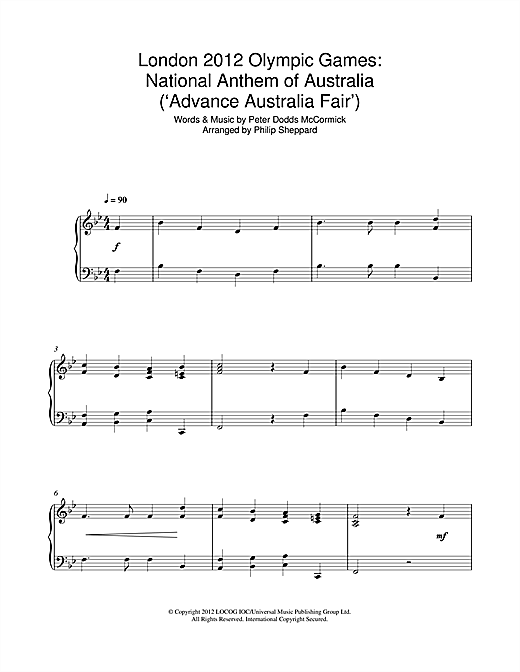 Download Philip Sheppard 'London 2012 Olympic Games: National Anthem Of Australia ('Advance Australia Fair')' Digital Sheet Music Notes & Chords and start playing in minutes