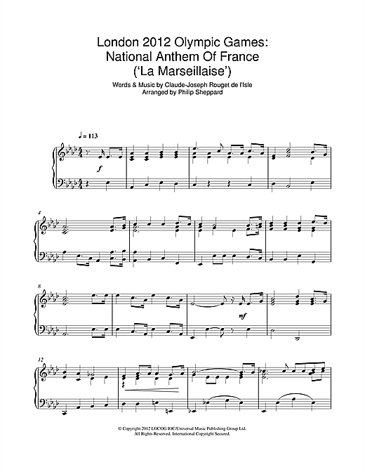 Download Philip Sheppard 'London 2012 Olympic Games: National Anthem Of France ('La Marseillaise')' Digital Sheet Music Notes & Chords and start playing in minutes