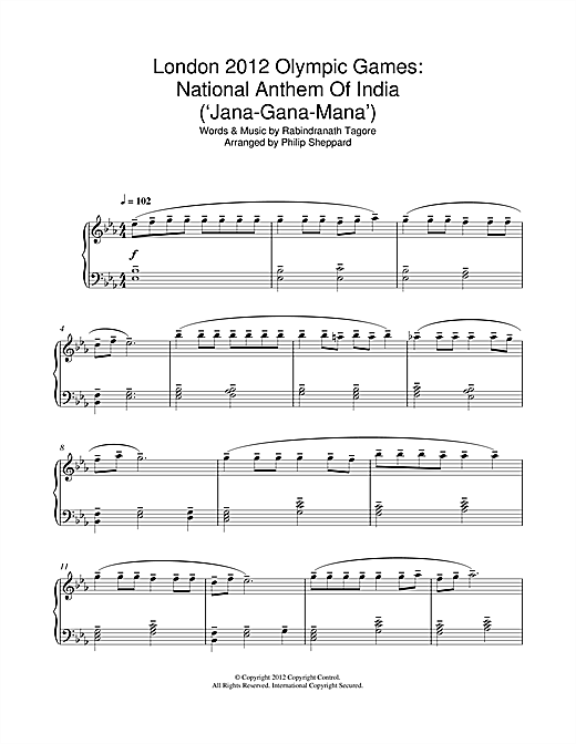 Download Philip Sheppard 'London 2012 Olympic Games: National Anthem Of India ('Jana-Gana-Mana')' Digital Sheet Music Notes & Chords and start playing in minutes