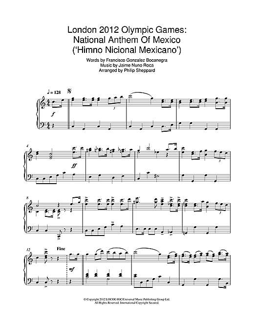 Download Philip Sheppard 'London 2012 Olympic Games: National Anthem Of Mexico ('Himno Nicional Mexicano')' Digital Sheet Music Notes & Chords and start playing in minutes
