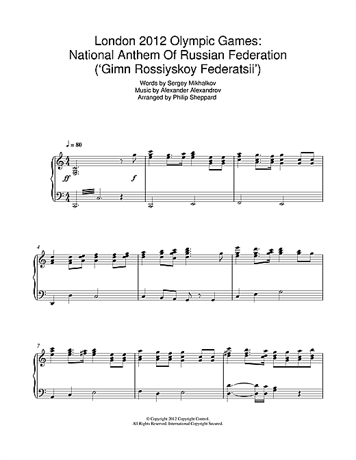 Download Philip Sheppard 'London 2012 Olympic Games: National Anthem Of Russian Federation ('Gimn Rossiyskoy Fed' Digital Sheet Music Notes & Chords and start playing in minutes