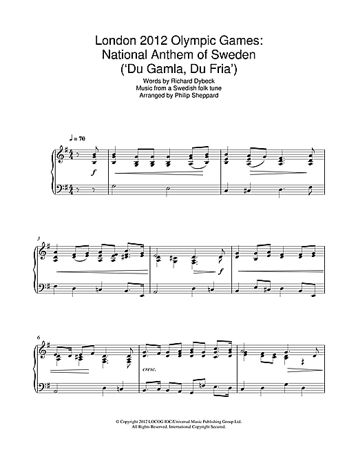 Download Philip Sheppard 'London 2012 Olympic Games: National Anthem Of Sweden ('Du Gamla, Du Fria')' Digital Sheet Music Notes & Chords and start playing in minutes