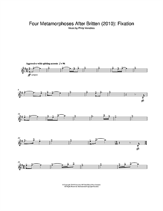 Download Philip Venables 'Four Metamorphoses After Britten (2010): Fixation' Digital Sheet Music Notes & Chords and start playing in minutes