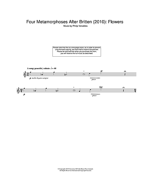 Download Philip Venables 'Four Metamorphoses After Britten (2010): Flowers' Digital Sheet Music Notes & Chords and start playing in minutes